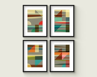 SAIL - Collection of (4) Giclee Prints - Abstract Mid Century Modern