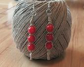Tan Hemp Red Acrylic Beads Dangle Pierced Earrings 3 1/4 Inches Long Handmade