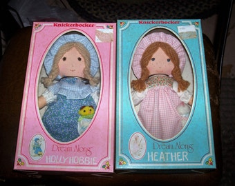 "Lot 2 vintage Holly Hobbie Hobby Heather  Rag Doll ""Dream Along"" Rag doll  9"" Tall Mint In Box MIB"