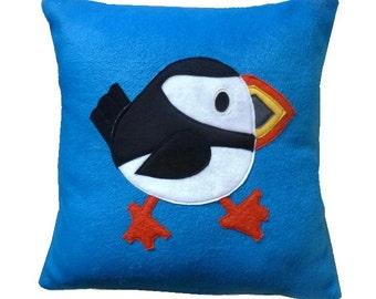Puffin cushion, fleece cushion, puffin applique pillow