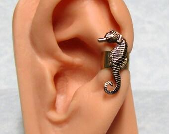 Sea Horse Nautical Ear Cuff ( small left ear )