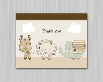 Sleepy Safari Animals Printable Baby Shower Thank You Note Card  Folded