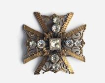 Vintage 40s Joseff BROOCH / 1940s Large Brass Joseff of Hollywood Maltese Cross Pin