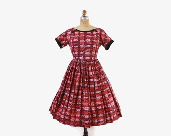 Vintage 50s Day DRESS / 50s Pink & Red Full Skirt Cotton Rockabilly Dress M