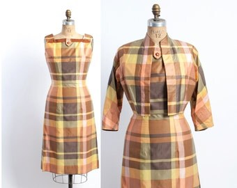 Vintage 50s DRESS Suit / 1950s PLAID Cotton Wiggle Dress and Cropped Bolero Jacket Set M