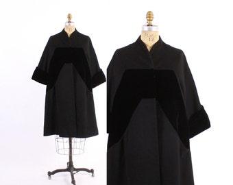 Vintage 50s Swing COAT / 1950s DON LOPER Designer Black Velvet & Wool Winter Coat