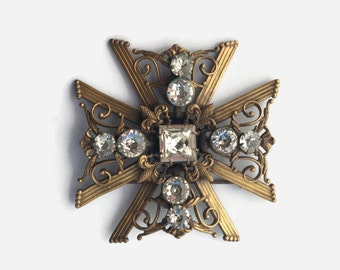 Vintage 40s Joseff BROOCH / 1940s Large Brass Joseff of Hollywood Maltese Cross Pin