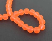 50 Frosted Glass Beads 11mm Fluorescent Orange Tone - BD672