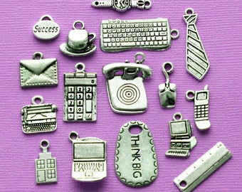 Office Charm Collection Antique Silver Tone 16 Charms At Work- COL341