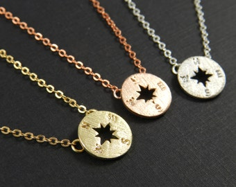 Compass Necklace, Compass Jewelry, Travel Necklace, Wanderlust Necklace, Bon Voyage, Graduation Gift, Gold Compass Silver Compass, Rose Gold