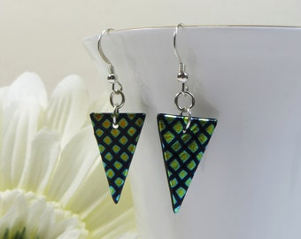 Dichroic Glass Pennant Shape Earrings with Sterling Silver, Dichroic Silver Earrings, Colour Change Earrings, Delicate Green Silver Earrings