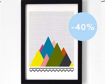 Graphic mountains Poster A4