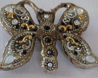 Vintage brooch, marked 925 and OS crystal butterfly figural brooch, flying insect jewelry
