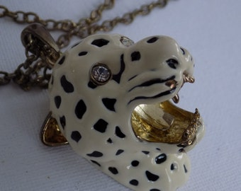 Vintage necklace, big, chunky enamel and crystal snarling leopard pendant with long chain, brutalist jewelry