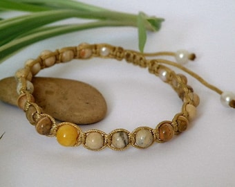 Yellow Baltic Amber and Jasper gemstone bracelet - Freshwater Pearls - knotted - macrame - pull out closing - Tribal wear - 15 cm