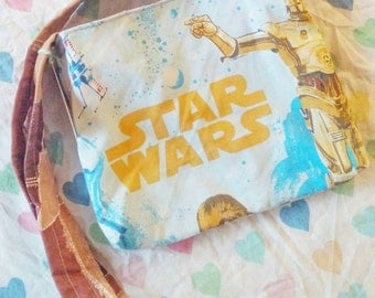 Star Wars upcycled large tote purse vintage style C3PO R2D2 CLEARANCE SALE