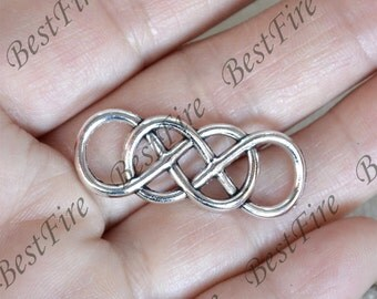 12 PCS Of 13x34mm Antique silver Double Infinity Connector findings,metal finding,pendant beads,two holes Charms