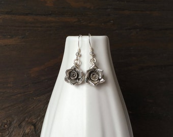 Rose earrings, fine silver earrings, handmade rose earrings