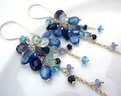 Aquamarine, Apatite, Kyanite, Iolite, Sapphire, Tanzanite Blue Gemstone Earrings. Beadwork Cluster Earrings. Sterling Silver Chain Jewelry.