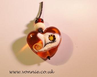 Amber Lampwork heart