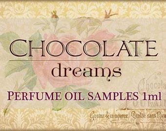 CHOCOLATE DREAMS theme Perfume Oil Samples / 1ml Perfume / Vegan perfume / Chocolate Perfume Oil