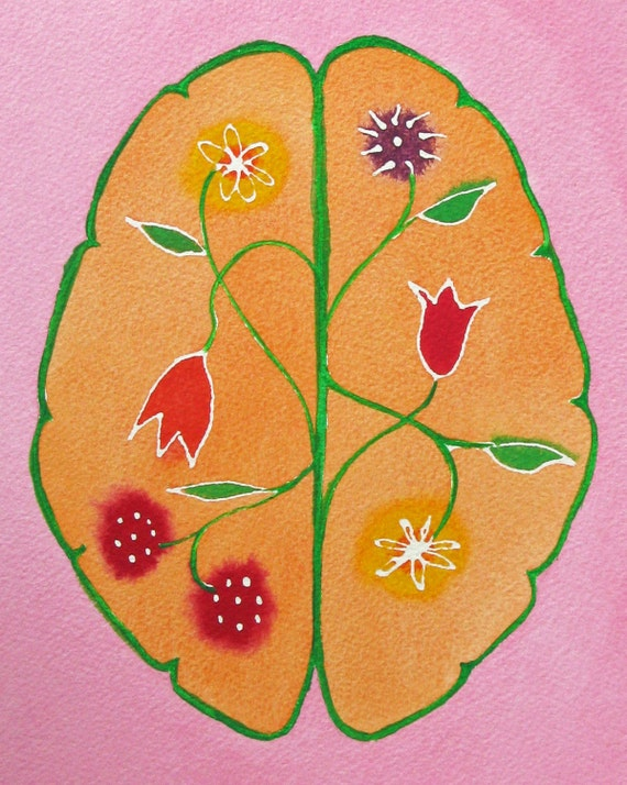 Wild Mind Garden 2 -  original watercolor painting of brain