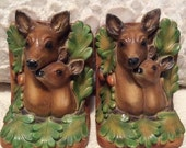 PRE SPRING SALE Stunning Vintage 1950s Pair of Doe and Fawn Deer Figurine Bookends Heavy Ceramic