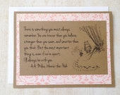 Always Remember - Winnie the Pooh Quote - Classic Piglet and Pooh Note Card Pink Lace Border