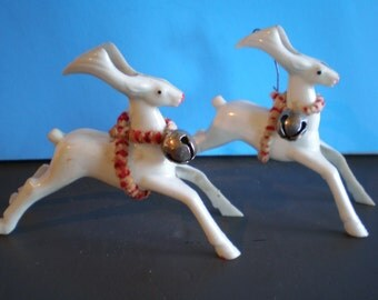 Vintage Mid Century Christmas Decorations - Pair Of White Reindeer