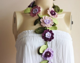 Lariat Crochet Scarf-Necklace  Scarf-Blush, Pink,Purple,Lilac  Scarf-Flowers and Leaves Scarf