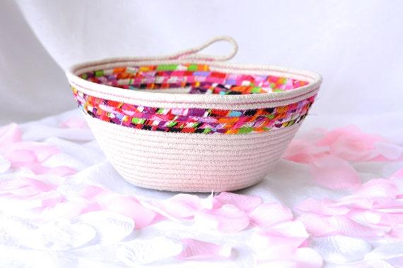 Sale... Decorative Spring Basket, Handmade Fiber Basket, Brush Holder, Makeup Organizer, Coiled Fabric Basket, Bathroom Decor