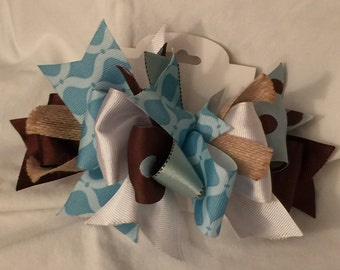 Turquoise and Brown Funky Loop Bow - Funky Loop Bow - Country Charm Bow