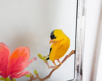 Art Original painting of goldfinch and blooming magnolia flower on glass with industrial steel frame
