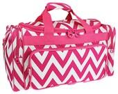 "Personalized 23"" Duffle Bag-PINK Chevron Duffle Bag GYM  CHEER  Dance"