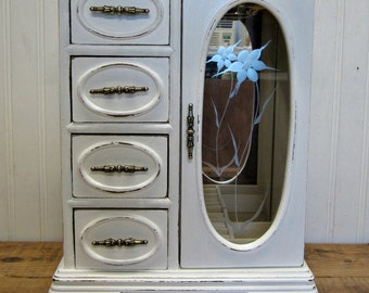 Vintage Shabby Painted White Wood Musical Jewelry Box Etched Glass Door
