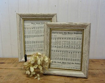 Set of Two Shabby White Gold Petite Picture Frames