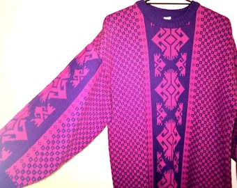 Vintage 1980s pink and purple geometric over-sized jumper sweater dress