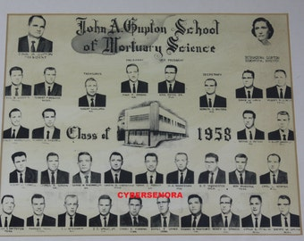 Vintage Mortuary Science Mortician Embalmer Class Photo Funeral Home Embalming Oddity Halloween Decor Copy
