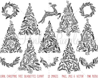 Floral Christmas Tree Silhouettes Clipart Clip Art, Christmas Holiday Tree Clipart Clip Art Vector - Commercial and Personal