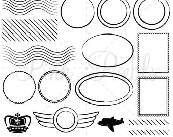 Postage Clip Art Clipart, Postmark Clip Art Clipart, Travel Clip Art Clipart - Commercial and Personal Use