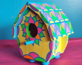 Handpainted Birdhouse /Mini-Sized/Bright Colors/Original Design/Shelf or Desk Display/Floral Designs/Yellow/Pink/Blue/Green/ Orange