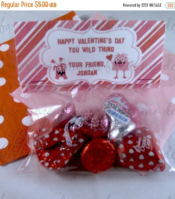 On sale DIY PDF Treat Bag Topper- Monsters & Hearts Valentine Treat Bag Toppers