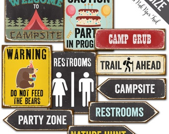 Camping Party Signs, Camping Party Decor, A3 size, Instant Download, Print your own