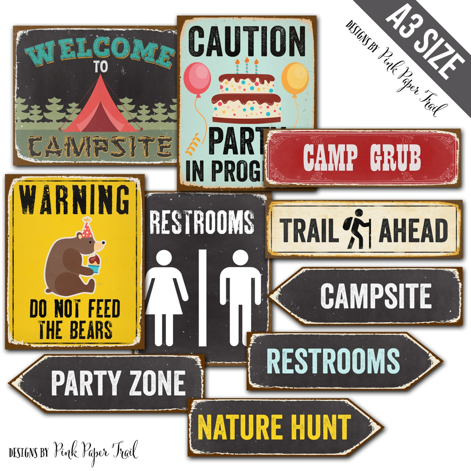 Breathtaking image within printable camping signs