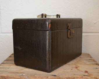 Old Vintage TrainCase with Faux Lizard Embossed Leather Clear Handle Brass Hardware Small Tray and Aged Mirror Small Travel Case Sewing Kit