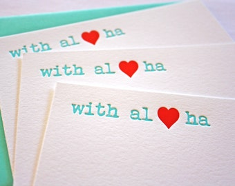 Letterpress Cards With Aloha Heart