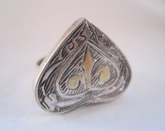 Kazakh Style Ring, Silver Tribal Ring, Heart Shaped Ring, Tribal Ethnic Jewelry, Afghan Jewelry, Size 8 1/2