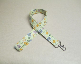 Floral lanyard, Fabric lanyard, flowers and butterflies