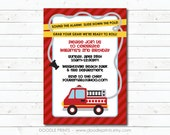 "Fire Truck Invitation, Fire Fighter Birthday Party Invitation, Customized Printable Boy's Party, Fire Engine Party 4x6"" or 5x7"""