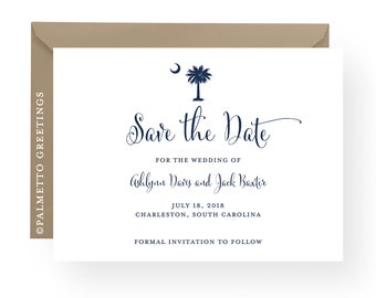 South Carolina Wedding Invitation Save the Date Palmetto Tree and Crescent Moon Postcard - custom colors and content by Palmetto Greetings